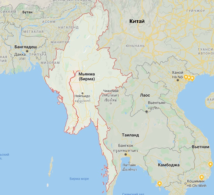 Мьянма карта